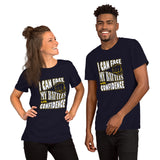 Christian t shirt navy with encouragement quote design: I can face my battles with confidence