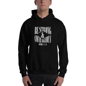 Christian hoodie black with bible verse design from Joshua 1:9 - be strong and courageous