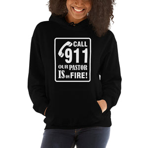 Christian hoodie black with funny clean joke design: call 911 our pastor is on fire