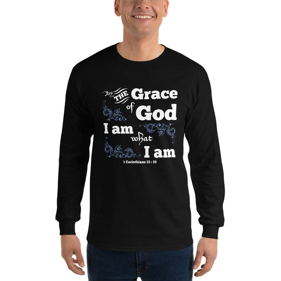 Christian long sleeve t-shirt black with bible verse design from 1 Corinthians 15:10 - by the grace of God I am what I am