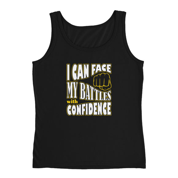 Christian tank top black with encouragement quote design: I can face my battles with confidence