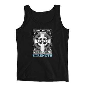 Christian tank top black with encouraging bible verse design from Philippians 4:13 - I can do all things through Christ who gives me strength