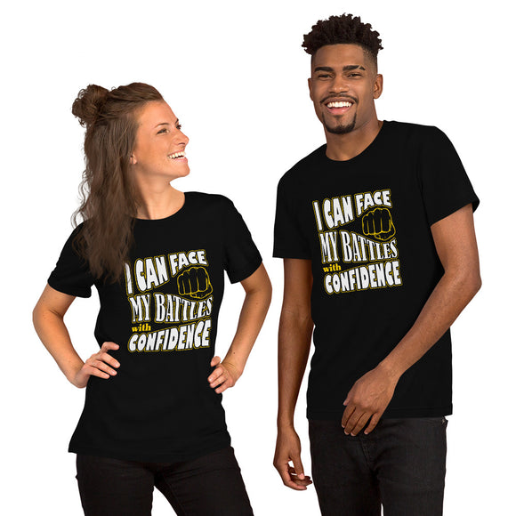 Christian t shirt black with encouragement quote design: I can face my battles with confidence