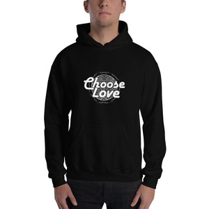 Christian hoodie black with encouraging bible quote design from 1 Corinthians 13 - Choose Love