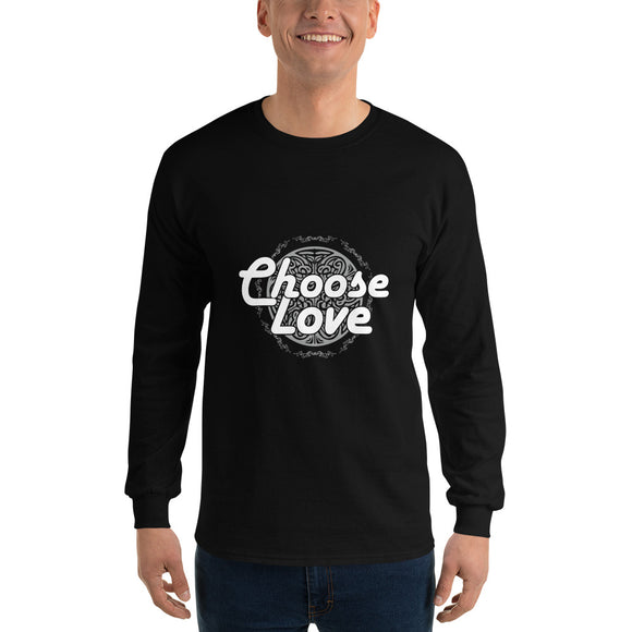 Christian long sleeve t-shirt black with encouraging bible quote design from 1 Corinthians 13 - Choose Love