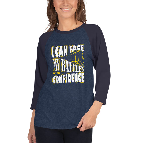 Christian raglan shirt heather denim/navy with encouragement quote design: I can face my battles with confidence