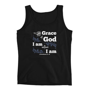 Christian tank top black with bible verse design from 1 Corinthians 15:10 - by the grace of God I am what I am