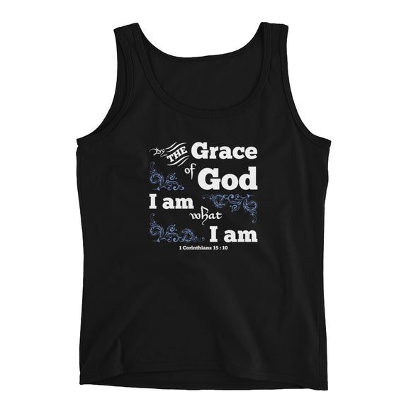 By the grace of God I am what I am 1 Corinthians 15:10 Ladies' Tank