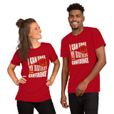 Christian t shirt red with encouragement quote design: I can face my battles with confidence