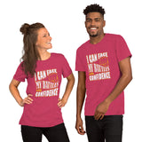 Christian t shirt heather raspberry with encouragement quote design: I can face my battles with confidence