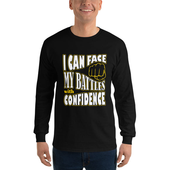 Christian long sleeve t-shirt black with encouragement quote design: I can face my battles with confidence