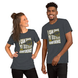 Christian t shirt asphalt with encouragement quote design: I can face my battles with confidence