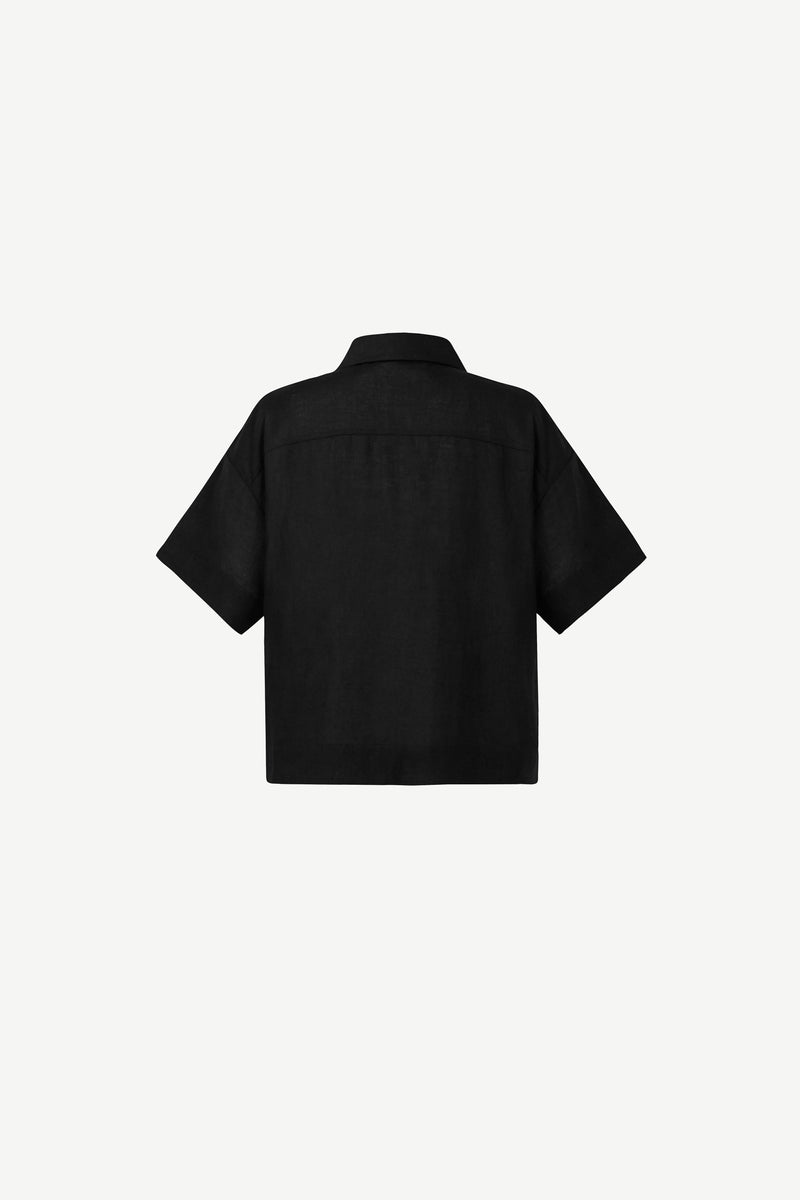 Linen open-collar shirt in black
