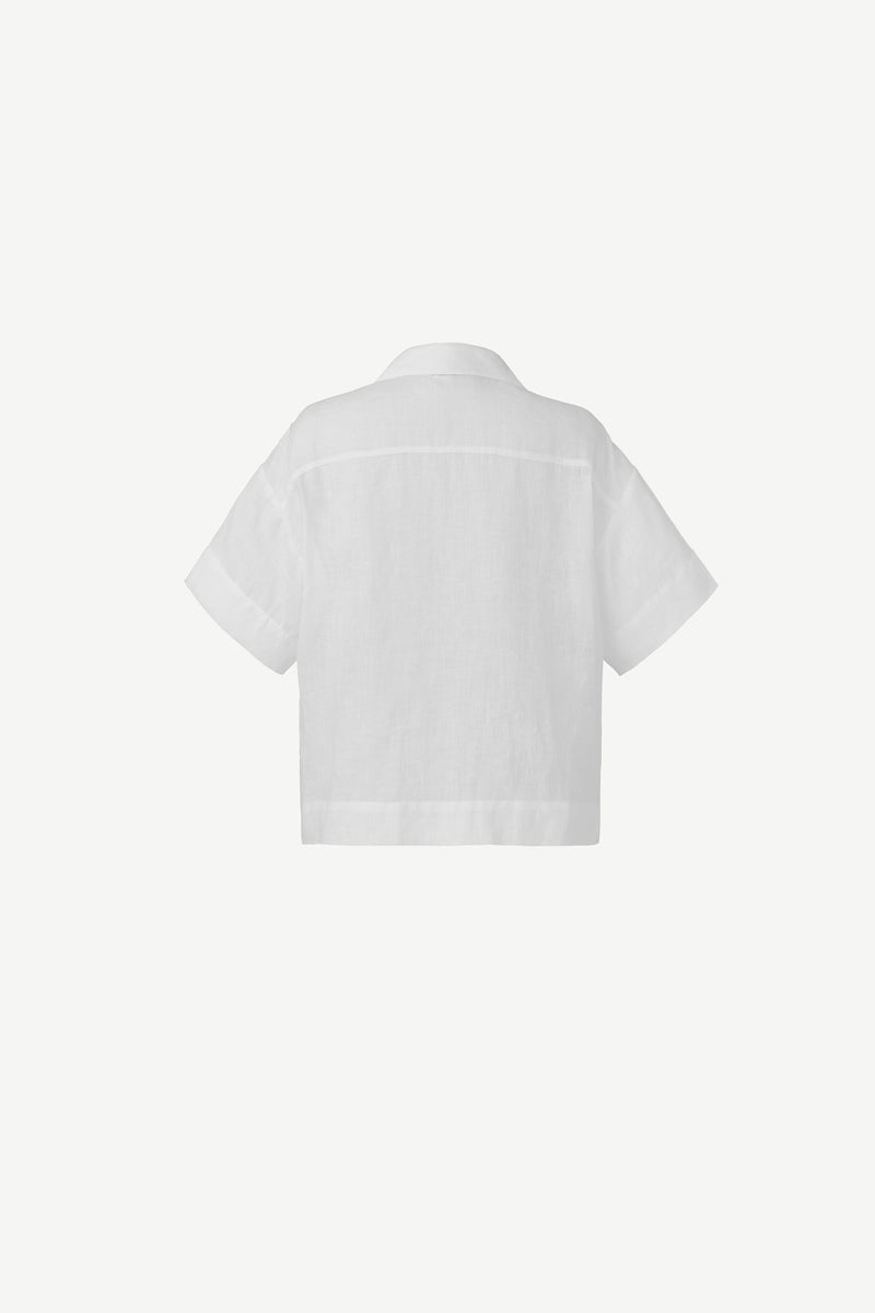 Linen open-collar shirt in white