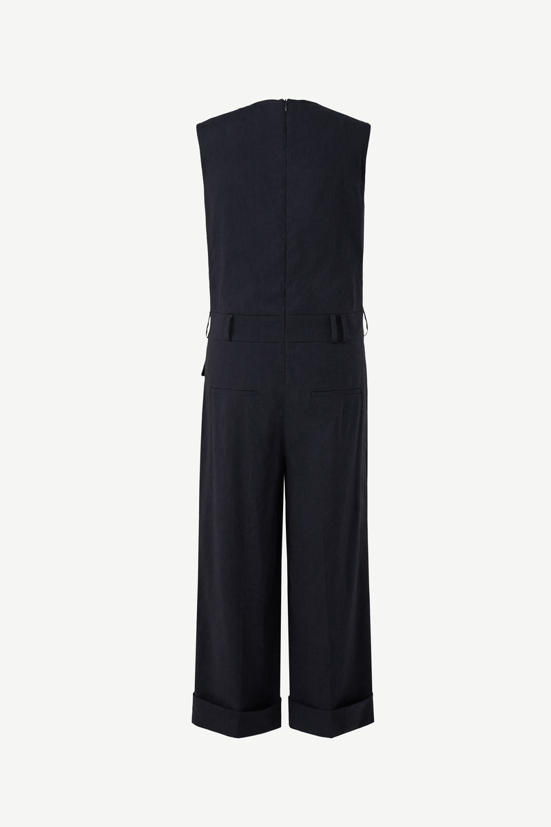 Linen tailored sleeveless jumpsuit
