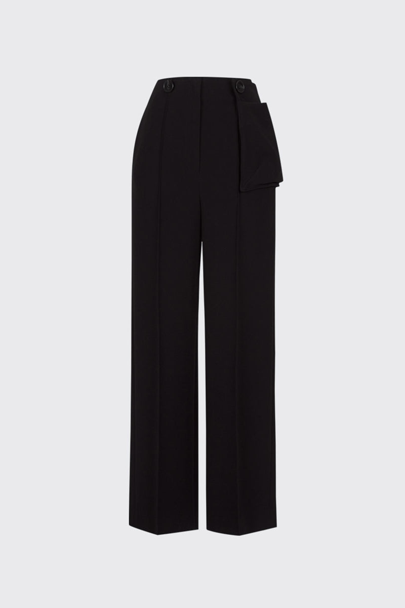 Black buttoned waist pouch trousers