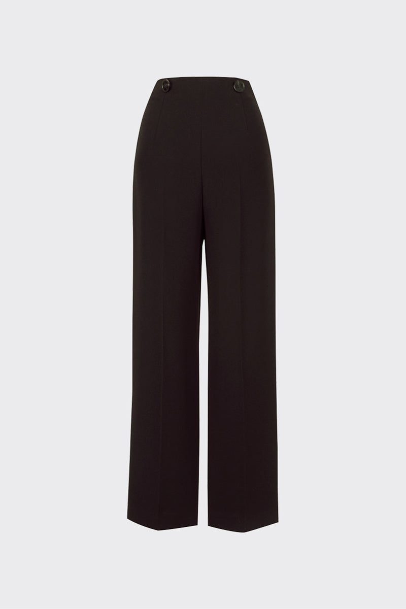 [60% OFF] Dark brown buttoned waist pouch trousers