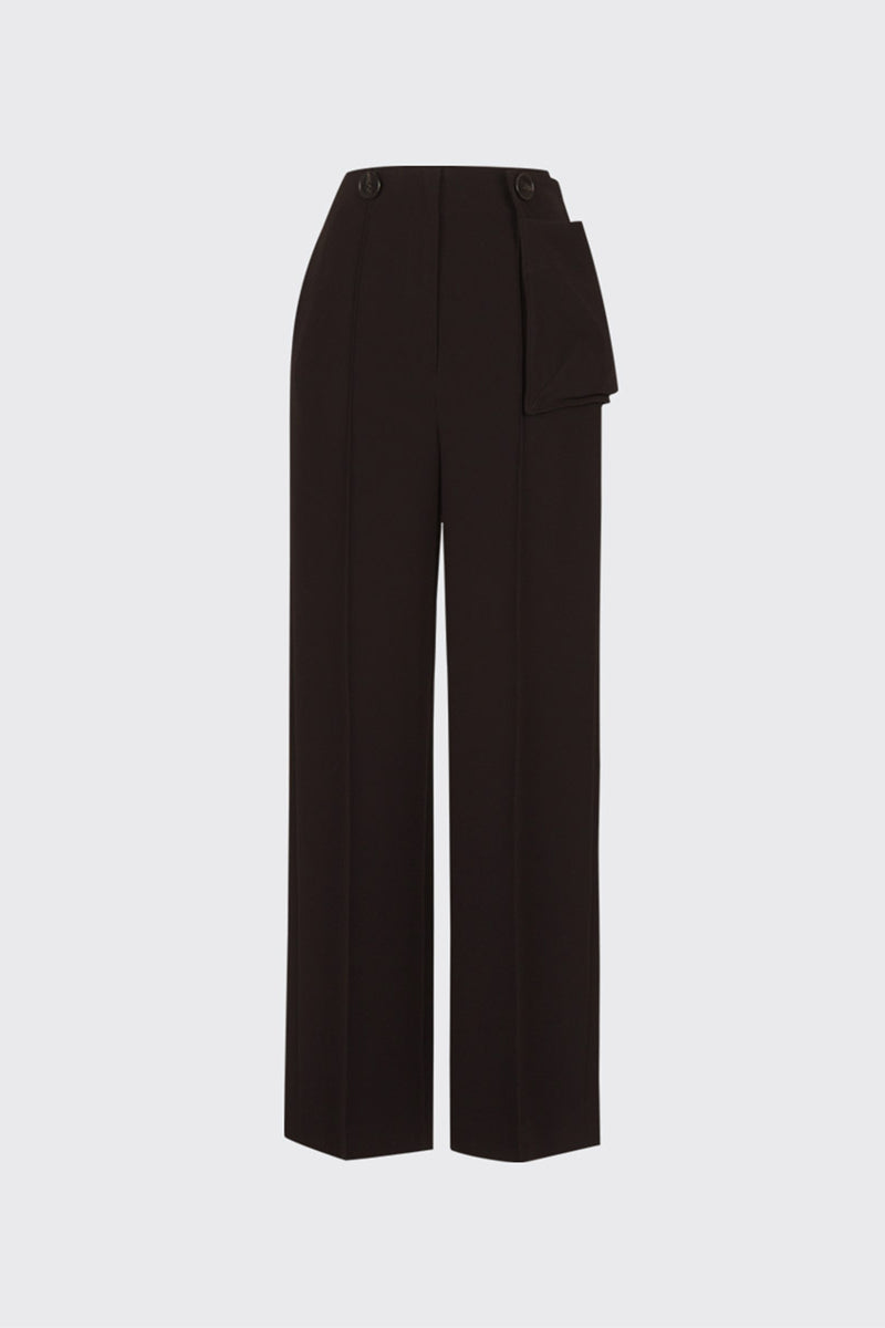 Dark brown buttoned waist pouch trousers
