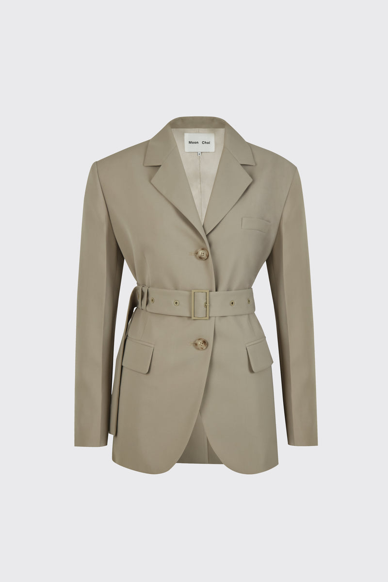 [50% OFF] Taupe center back slit 2-way blazer