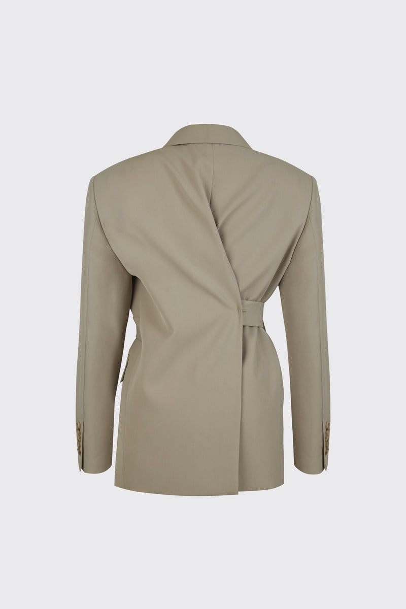 Taupe center back slit 2-way blazer