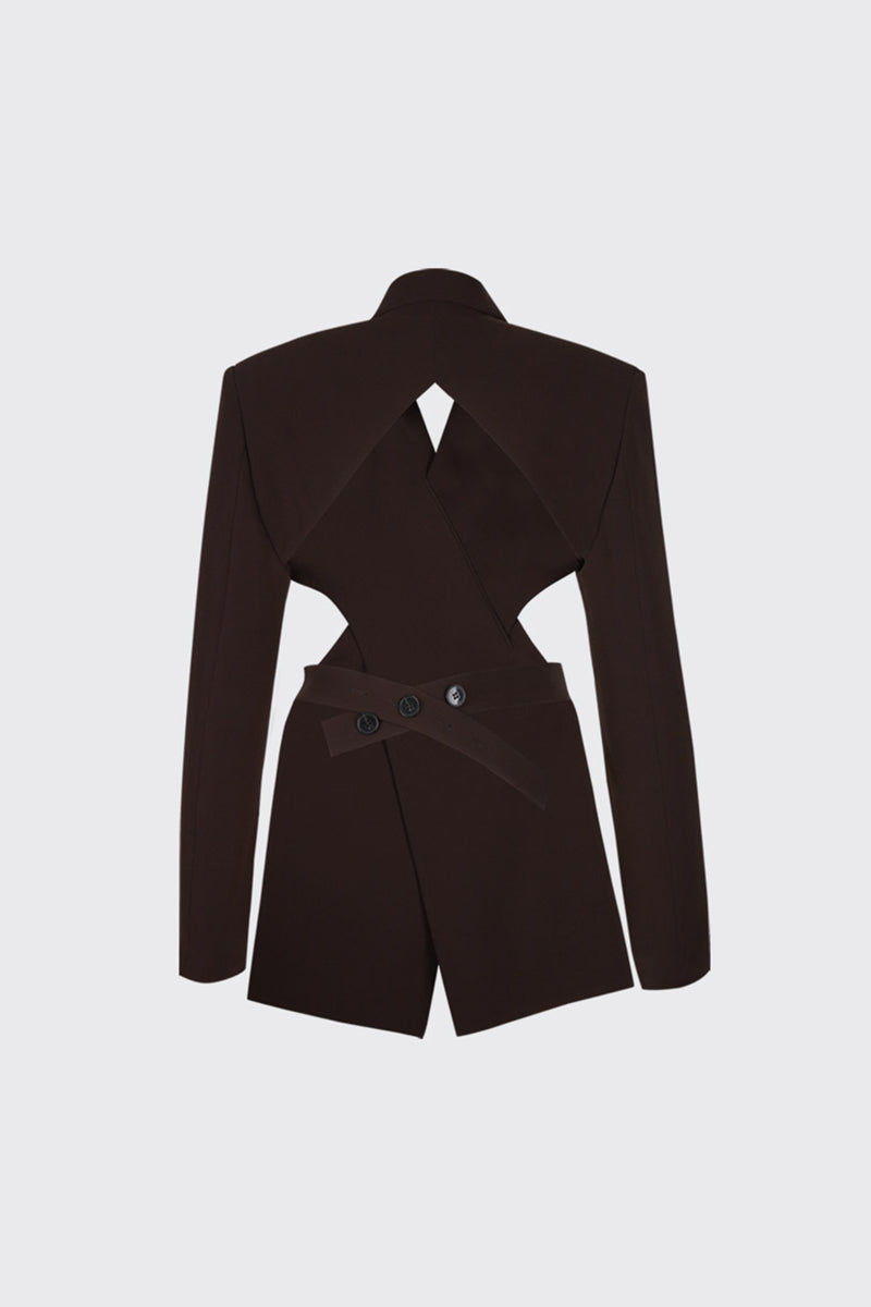 Dark brown overlapped lapel collar open-back blazer