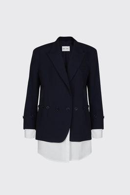 [60% OFF] Navy buttoned shirt blazer