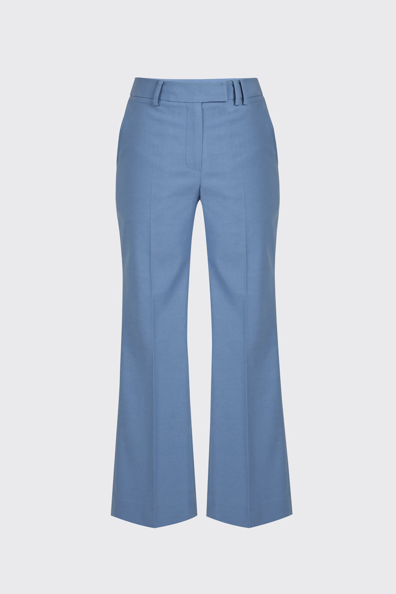 Light blue linen cropped flare trousers