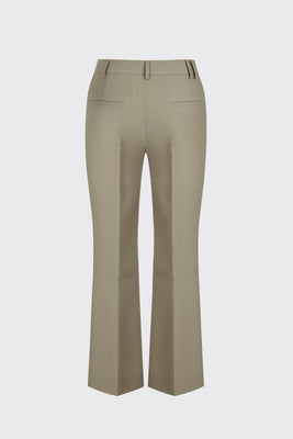 Taupe cropped flow flare trousers