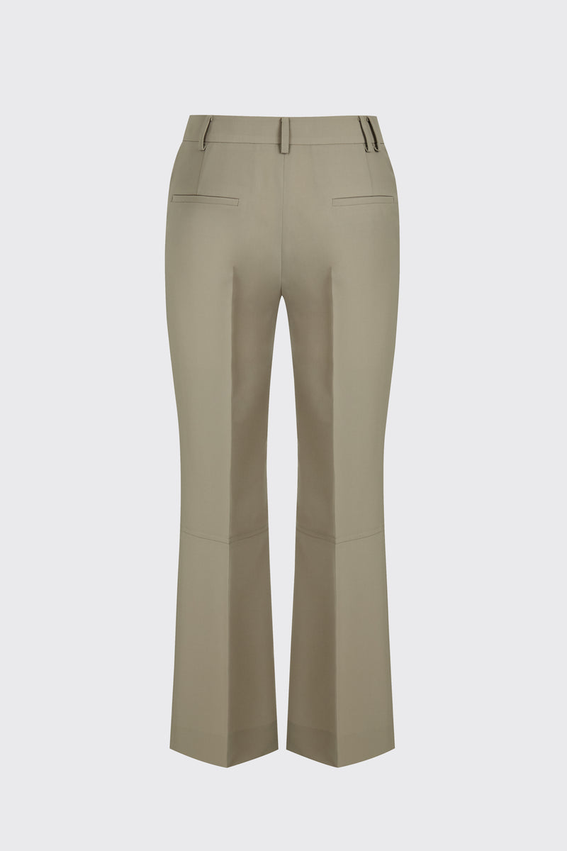 [60% OFF] Taupe cropped flow flare trousers