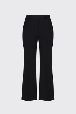 Black cropped flow flare trousers