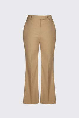 Sand linen cropped flare trousers