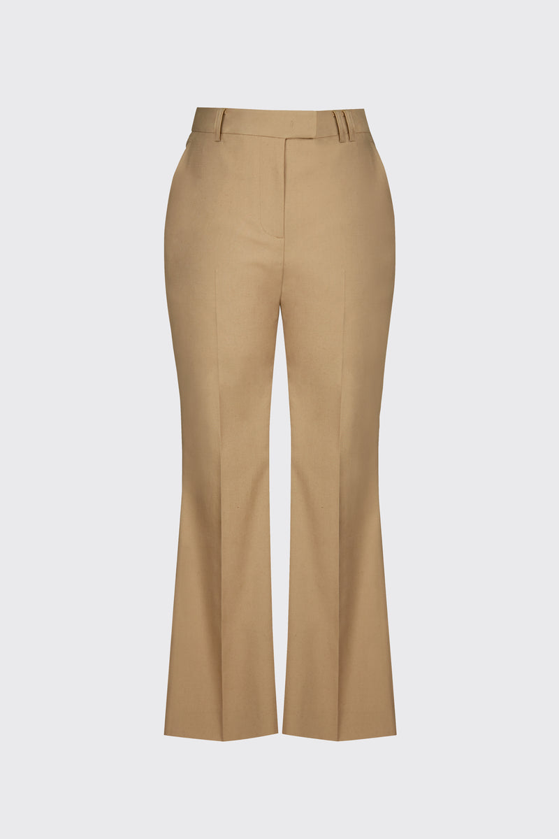 [60% OFF] Sand linen cropped flare trousers