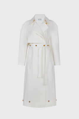 [65% OFF] White buttoned ruched waist trench coat