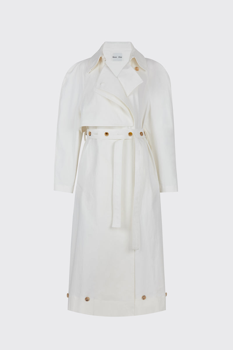 White buttoned ruched waist trench coat