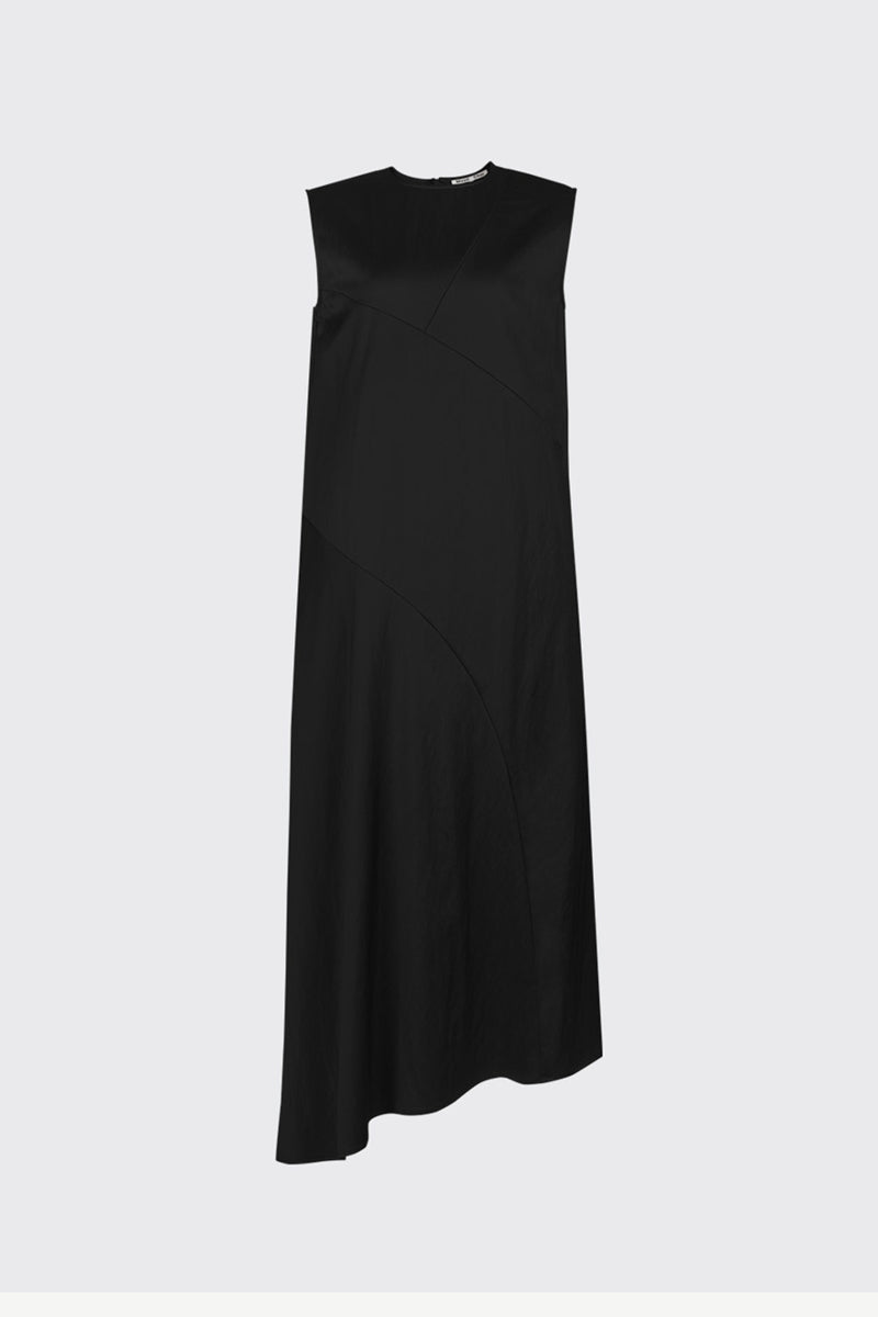 [60%] Black asymmetrical cut satin dress
