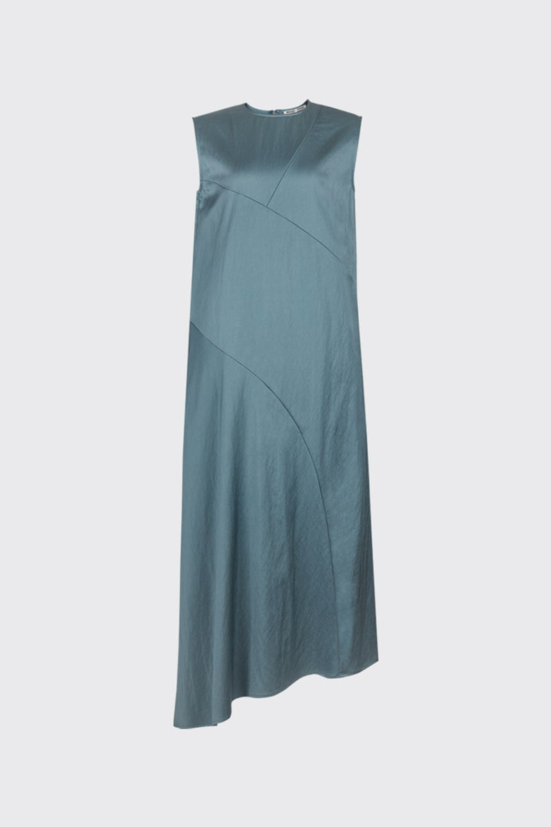 Jade green asymmetrical cut satin dress