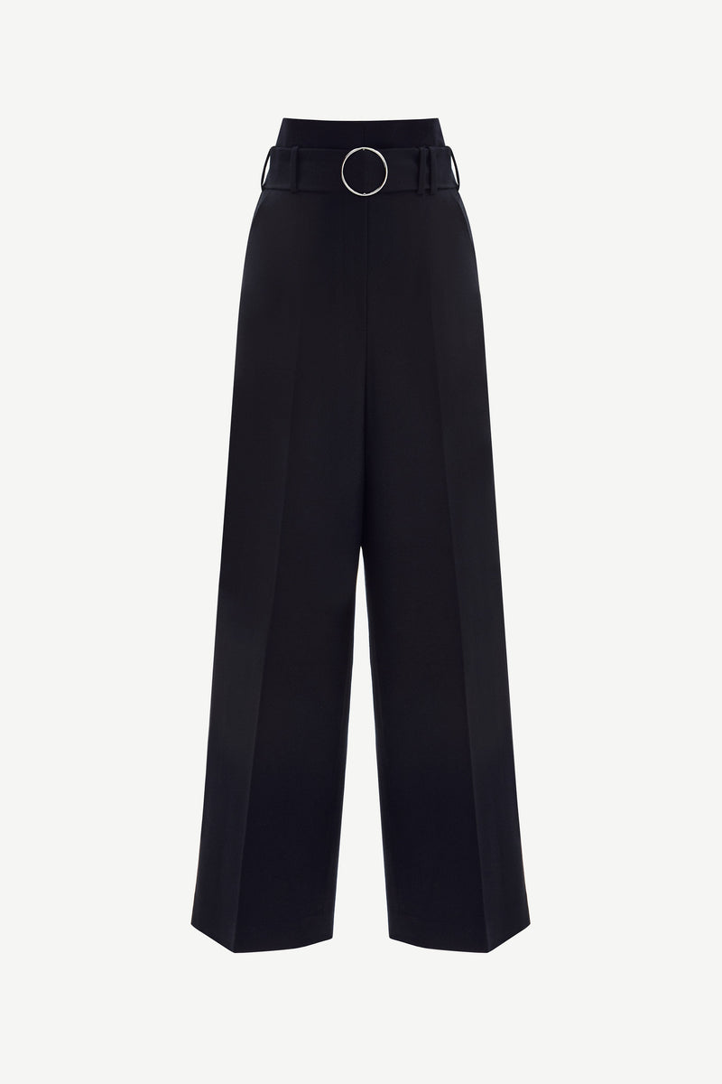 Belted wide-leg virgin wool trousers in black