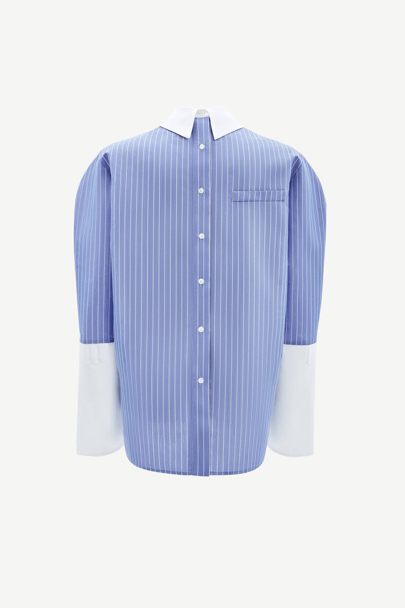 Blue back button shirt