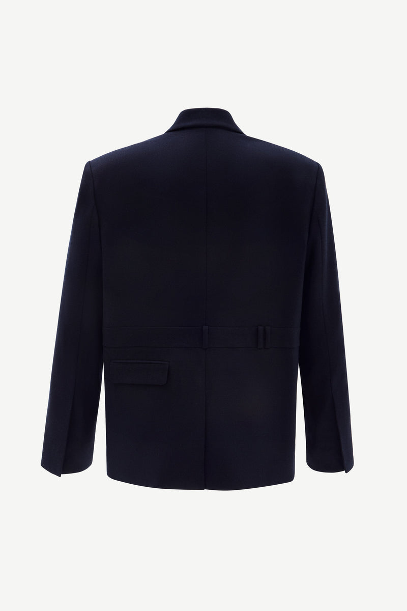 Navy oversized cashmere-blend wool blazer