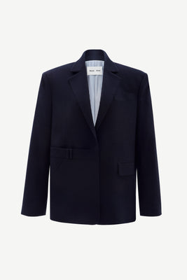 Oversized cashmere-blend wool blazer in navy