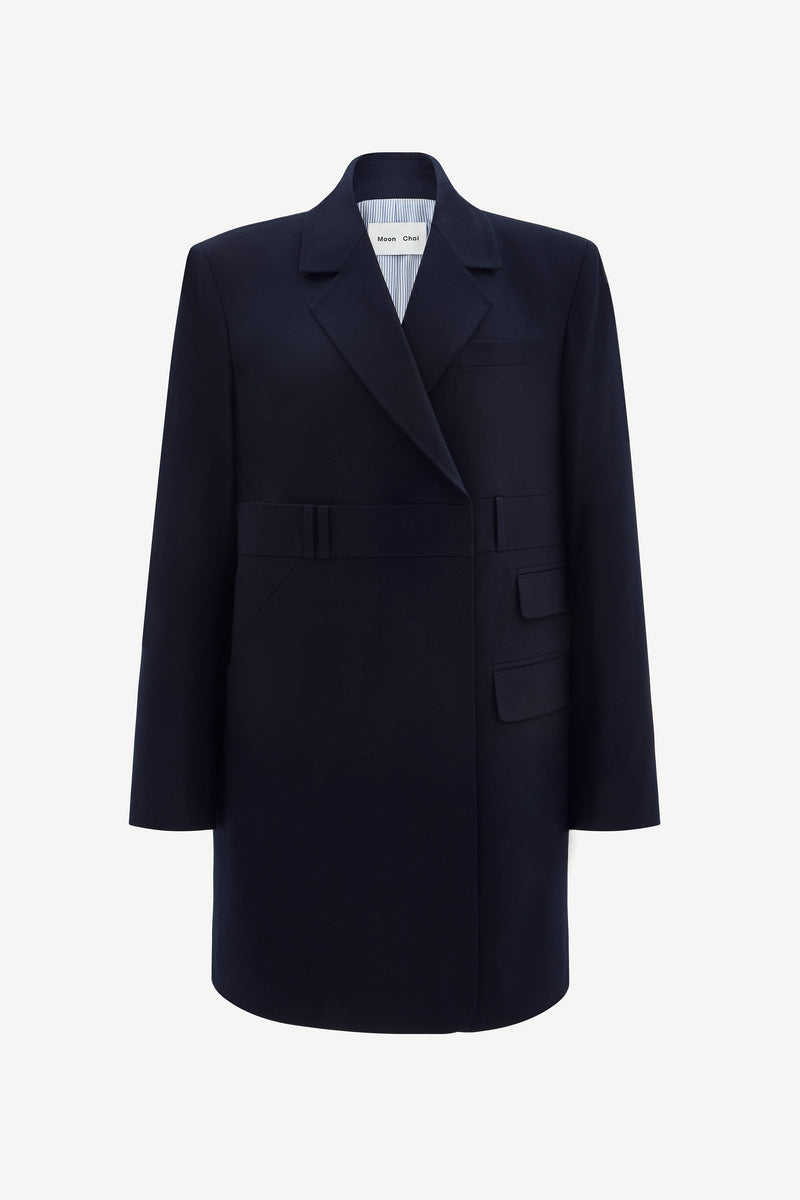 Navy oversized double-breast trousers blazer