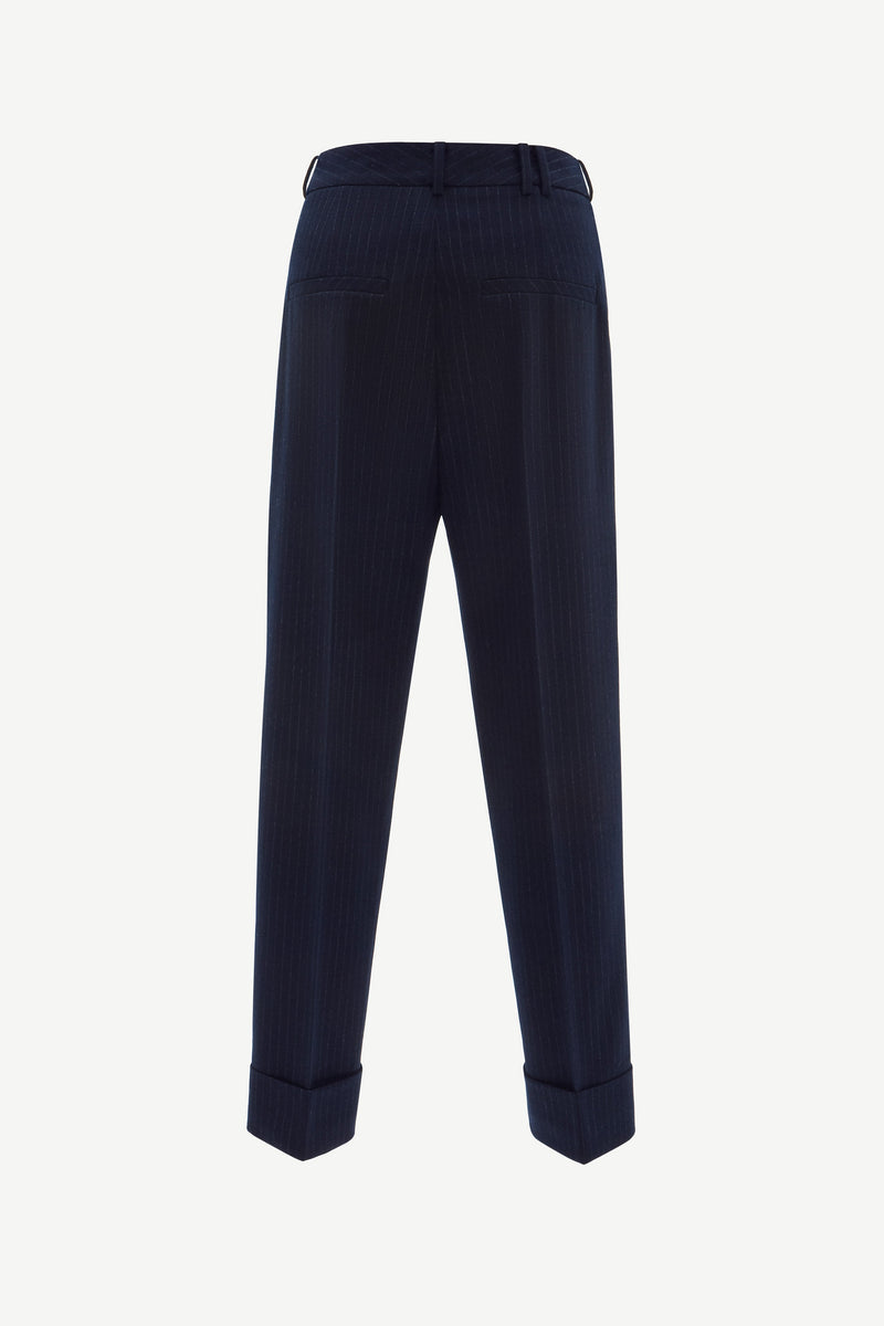 Pinstripe tailoring rolled cuff trousers in navy
