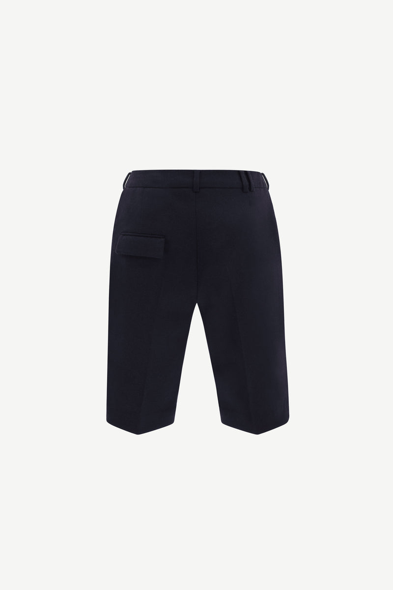 Navy side-slit cashmere-blend wool shorts