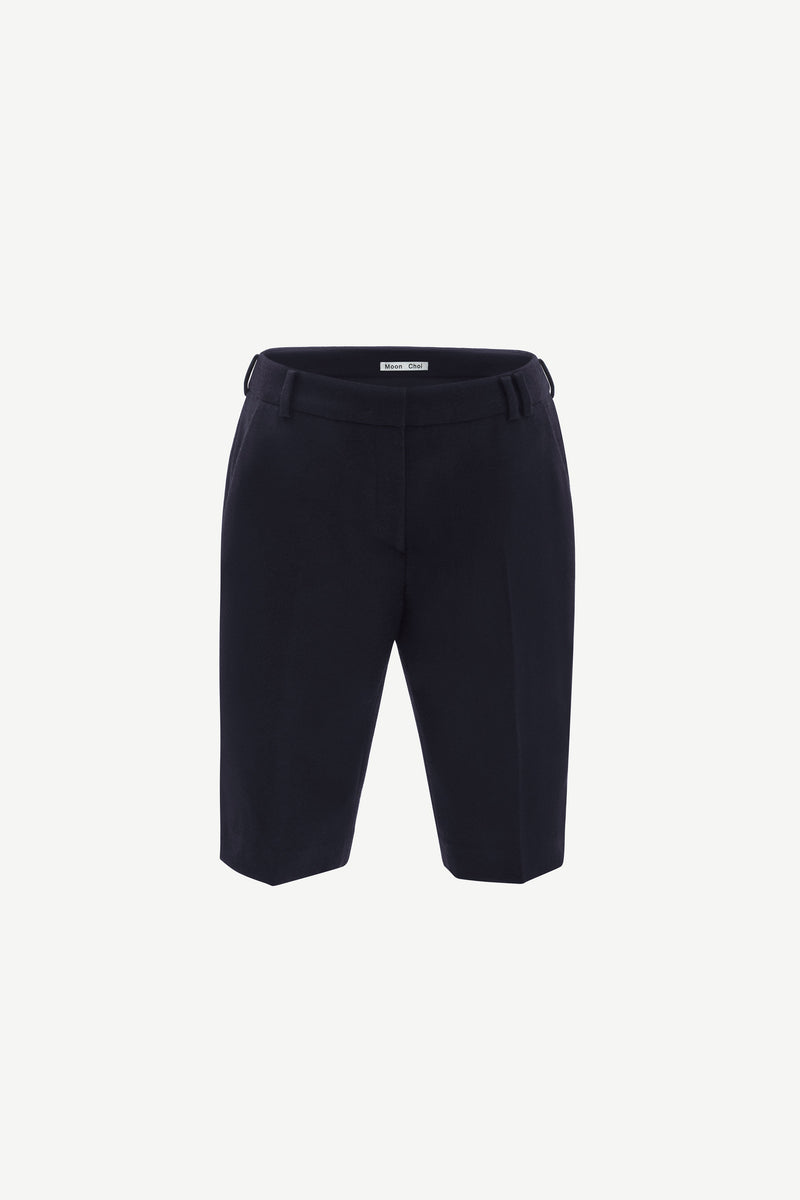 Side-slit cashmere-blend wool shorts in navy