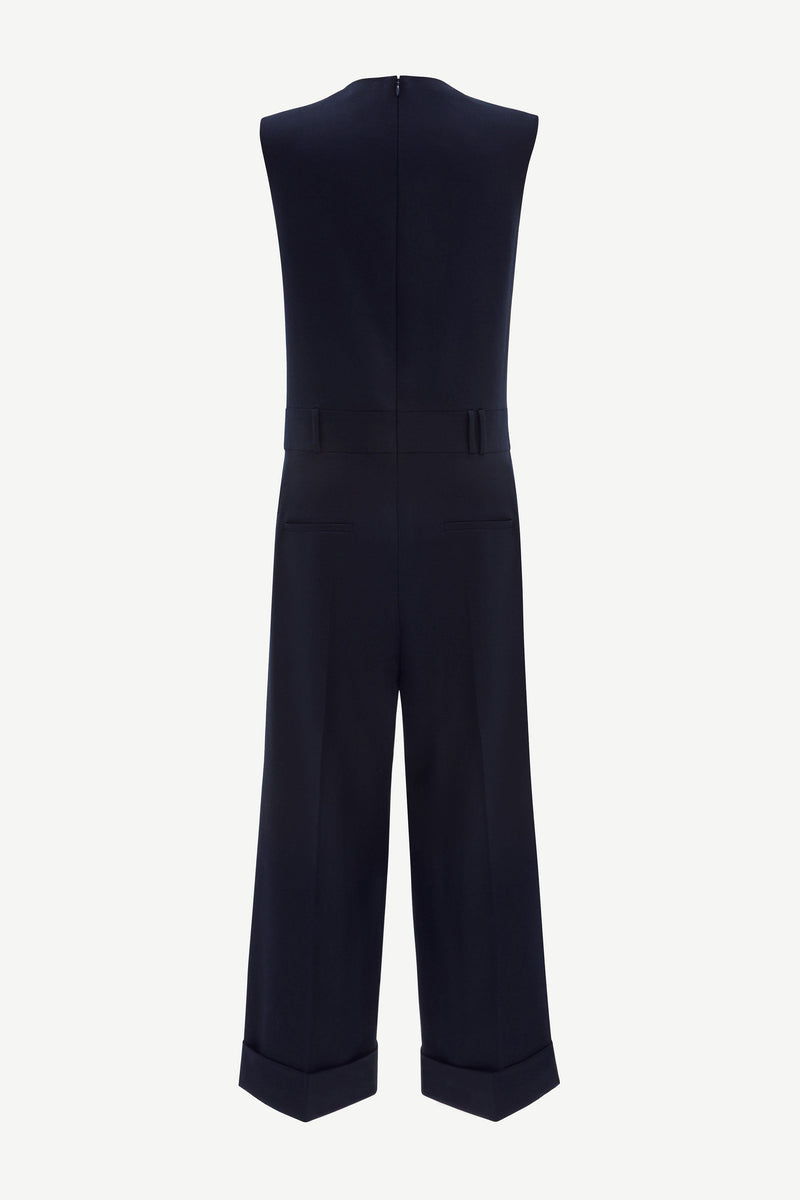 Wide-leg virgin wool jumpsuit in navy