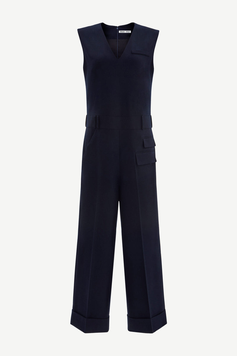 Navy wide-leg virgin wool jumpsuit