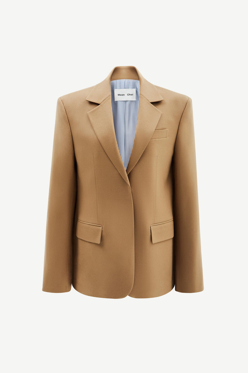 Tan wide-shoulder wool blazer