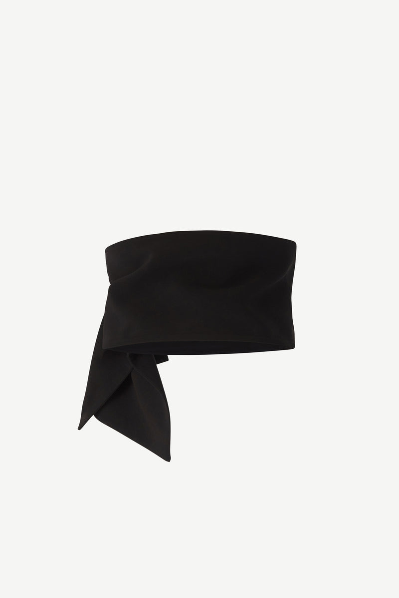 Ruched wide-belt in black