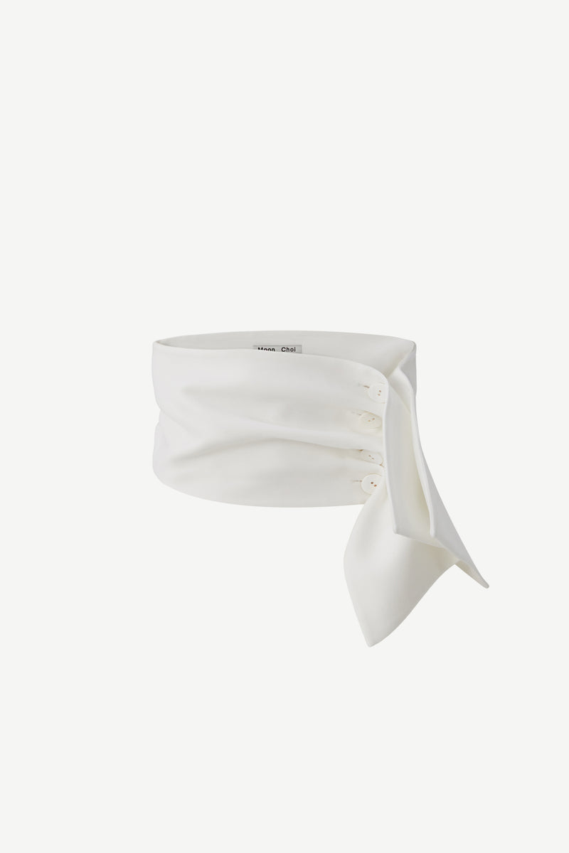 Ruched wide-belt in white