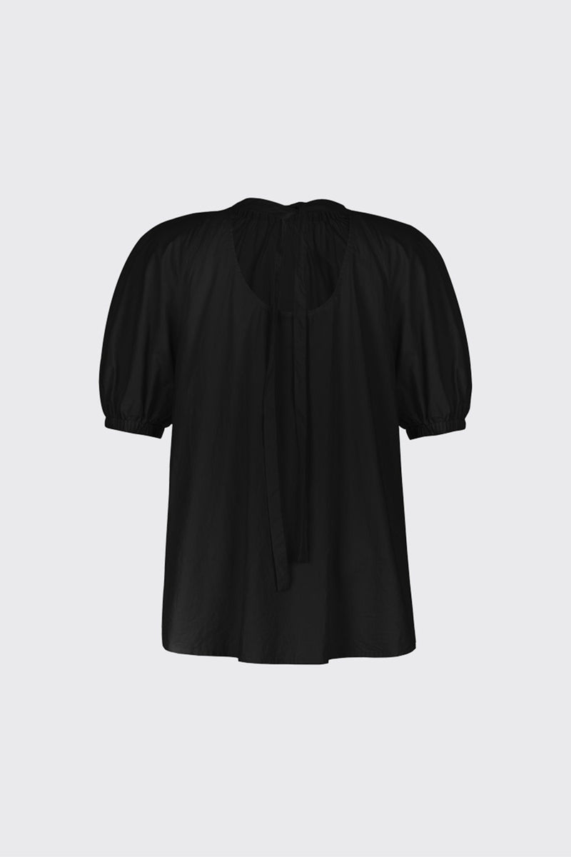 Black ruched neck volume blouse